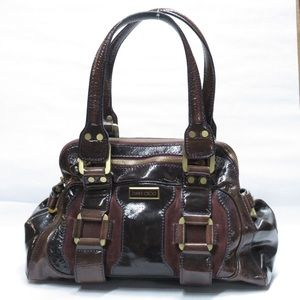 auth JIMMY CHOO pat leather & suede SATCHEL $2200